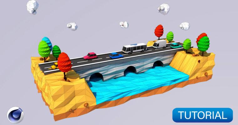 Low Poly Road & Bridges 3D Modeling – Cinema 4D Tutorial